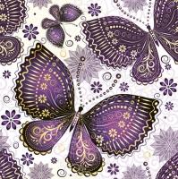 Servietten 33x33 cm - Ethnic Butterflies Violet