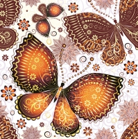 Lunch Servietten Ethnic Butterflies Orange
