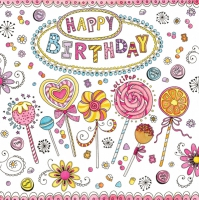Servietten 33x33 cm - Happy Birthday Lollipops