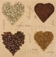 Servietten 33x33 cm - Coffee Hearts
