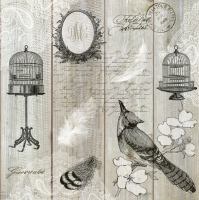 Servietten 33x33 cm - Vintage Birds & Cages