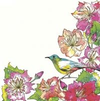 Servietten 33x33 cm - Exotische Blumen mit buntem Vogel