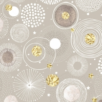 Servietten 33x33 cm - Doodle Circles with Golden Foil