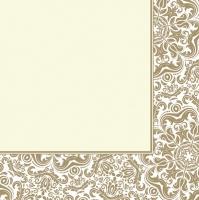 Servietten 33x33 cm - Ornamentrahmen Ecru natur
