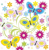 Servietten 33x33 cm - Graphic Colour Butterflies with Flowers