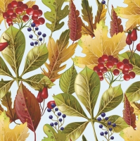 Servietten 33x33 cm - Rowanberry and Forest Leaves