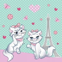 Servietten 33x33 cm - Chic Kitties in Paris