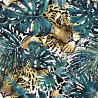 Servietten 33x33 cm - Hidden Leopard with Turquoise Monsteras