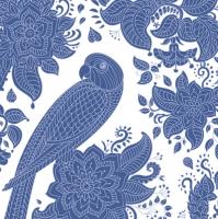 Servietten 33x33 cm - Blue Graphic Parrot and Floral Pattern