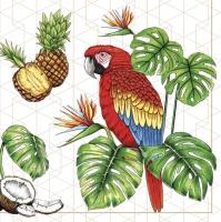 Servietten 33x33 cm - Parrots with Tropical Motifs