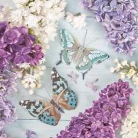 Servietten 33x33 cm - Lilac Collage with Butterflies