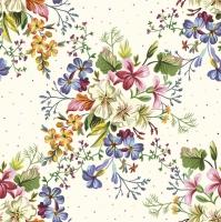 Servietten 33x33 cm - Delicate Flowers with Mini Dots