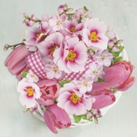 Servietten 33x33 cm - Pink Bunch in Wreath
