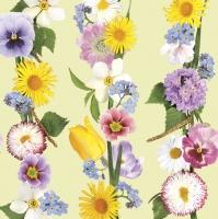 Servietten 33x33 cm - Frühlingsblumen Girlande