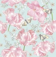 Servietten 33x33 cm - Pink Tulips with Butterflies