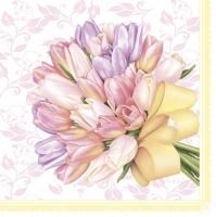 Servietten 33x33 cm - Tulips Bouquet with Big Yellow Bow