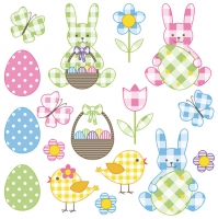 Servietten 33x33 cm - Pastel Easter Set