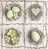 Servietten 33x33 cm - Pastel Green Easter Collage