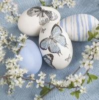Servietten 33x33 cm - Decoupage Eggs with Cherry Twigs