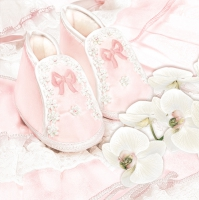 Servietten 33x33 cm - Christening Shoes Pink
