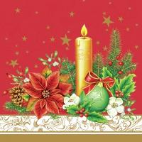 Servietten 33x33 cm - Klassische Weihnachten - rot