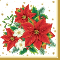 Lunch Servietten Poinsettia white