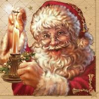 Lunch Servietten Weihnachtsmann mit Kerze