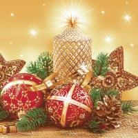 Servietten 33x33 cm - Gold Weihnachtsdekoration