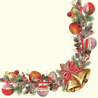 Servietten 33x33 cm - Weihnachtsrahmen mit Glocken