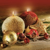 Servietten 33x33 cm - Round Christmas Candles
