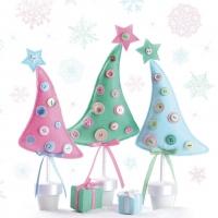 Servietten 33x33 cm - Pastellfarbener Stoff Weihnachtsbaum