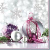 Servietten 33x33 cm - Silver & Purple Christmas Baubles