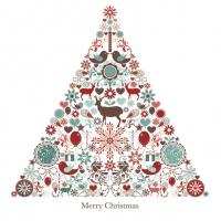 Servietten 33x33 cm - Weihnachtsbaum & grafische Elemente