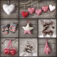Servietten 33x33 cm - Collage of Christmas Elements