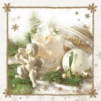 Servietten 33x33 cm - Weiße Weihnachtsdekoration