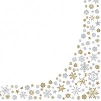 Servietten 33x33 cm - Gold & Silber Schneeflocken Grenze