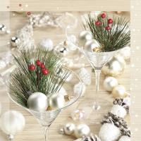 Servietten 33x33 cm - Weihnachtsdekore in Martini-Brillen