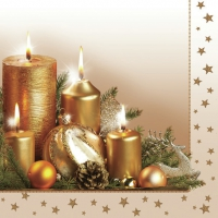 Servietten 33x33 cm - Gold Christmas Candles