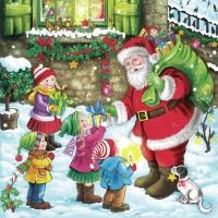 Servietten 33x33 cm - Weihnachtsmann Geschenke machen