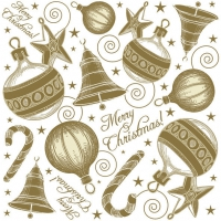 Servietten 33x33 cm - Hand Drawn Xmas Set Gold
