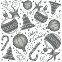 Servietten 33x33 cm - Hand Drawn Xmas Set Silver