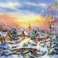 Servietten 33x33 cm - Winterdämmerung in der Stadt