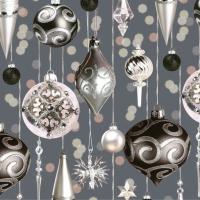 Servietten 33x33 cm - Silver & Pink Hanging Baubles