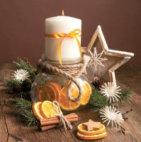 Servietten 33x33 cm - Candle in Jar Full of Orange Slices