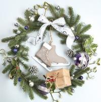 Servietten 33x33 cm - Weihnachtskranz mit Schlittschuhen