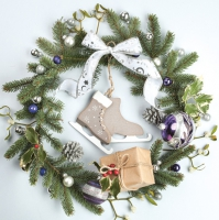 Servietten 33x33 cm - Christmas Wreath with Ice Skates