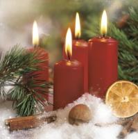 Servietten 33x33 cm - Four Red Candles Decoration
