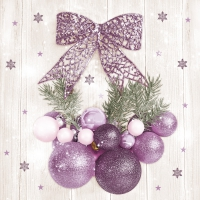 Servietten 33x33 cm - Violet and Pink Baubles with Bow