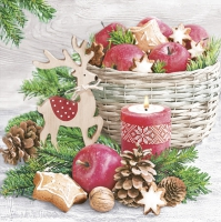 Servietten 33x33 cm - Wood Reindeer and Xmas Basket