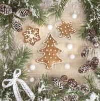 Servietten 33x33 cm - Gingerbread Tree with Sugar Pearls